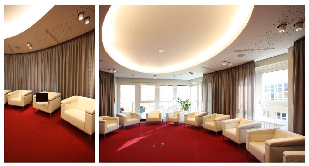 Die ovale VIP-Lounge wurde mit einer vom Akustiker exakt berechneten Lochplattenfläche in der Gipskartondecke versehen.