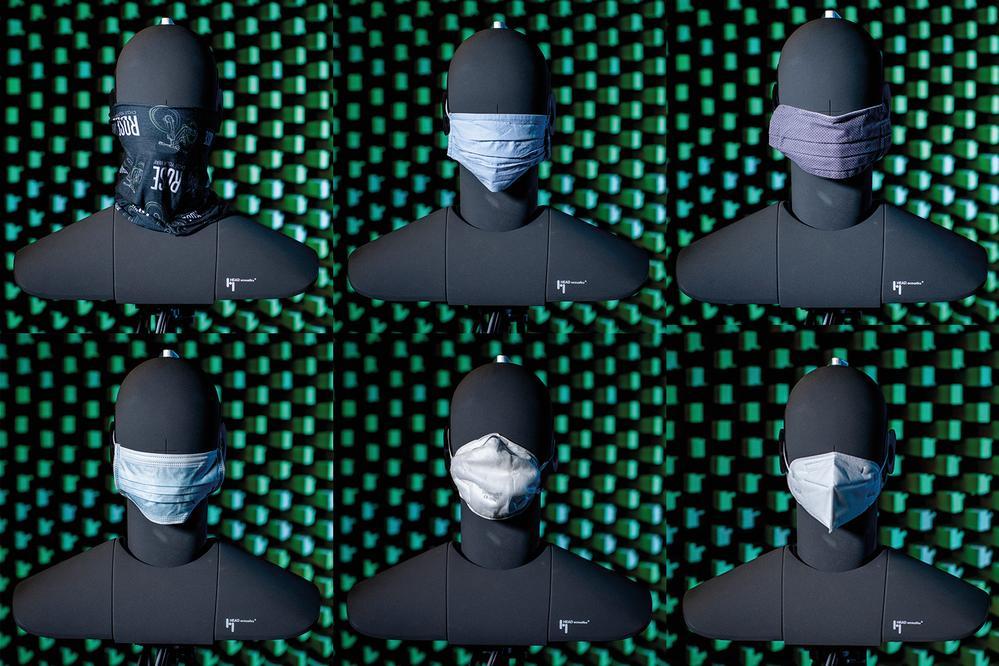 Untersucht wurden ein Mikrofaserschal, eine Stoff- und eine Community-Maske mit mehreren Schichten (obere Reihe v. l.) sowie eine medizinische Einweg-, eine KN95- und eine FFP2-Maske (untere Reihe v. l.). Abbildung: Thilo Schmülgen, TH Köln