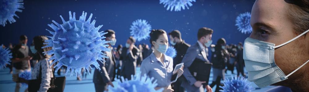 Die Sorge vor dem Coronavirus ist groß: Präventive Luftbefeuchtung könnte seine Verbreitung deutlich reduzieren. Abbildung: Hugentobler