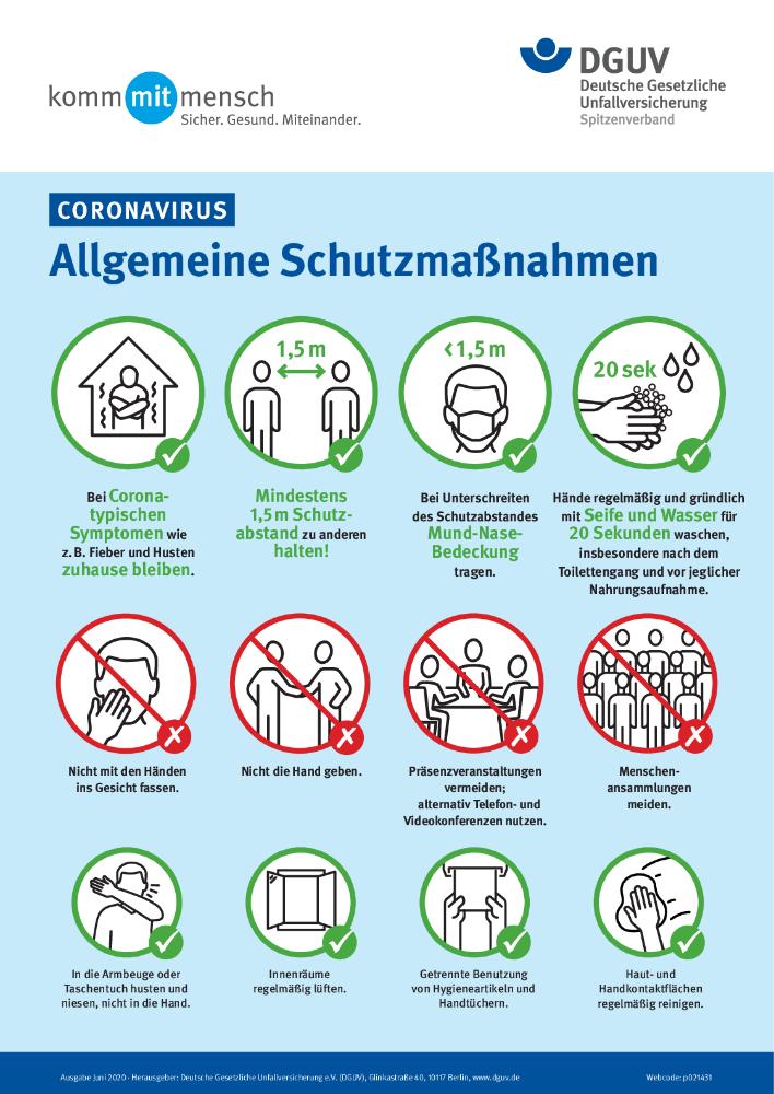 Zum Schutz der Mitarbeiter: Diese hygienischen und organisatorischen Schutzmaßnahmen sollten Betriebe ergreifen. Abbildung: DGVU
