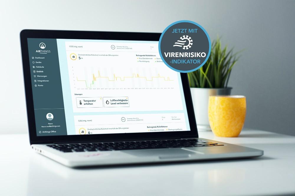 Beim Dashboard handelt es sich um eine kostenlose Online-Plattform, die Zugang zu Echtzeit- und historischen Sensordaten. Abbildung: Airthings