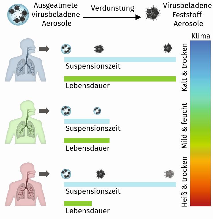 Temperatur und Luftfeuchte beeinflussen die Lebensdauer und die Verbreitung von Viren. Abbildung: RWTH Aachen