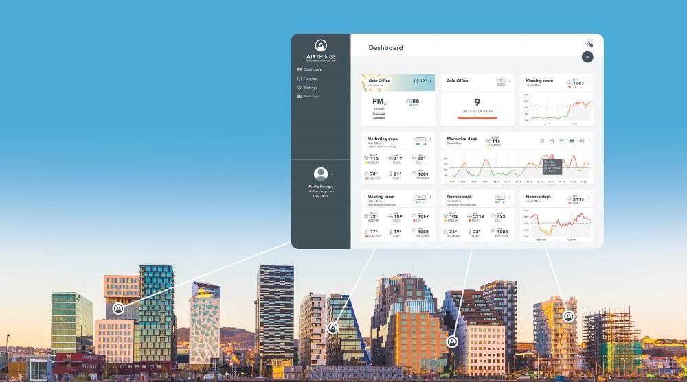 """Das """"Airthings for Business""""-Dashboard ermöglicht einen ausführlichen Überblick über die Luftqualität im Bürogebäude. Abbildung: Airthings"""