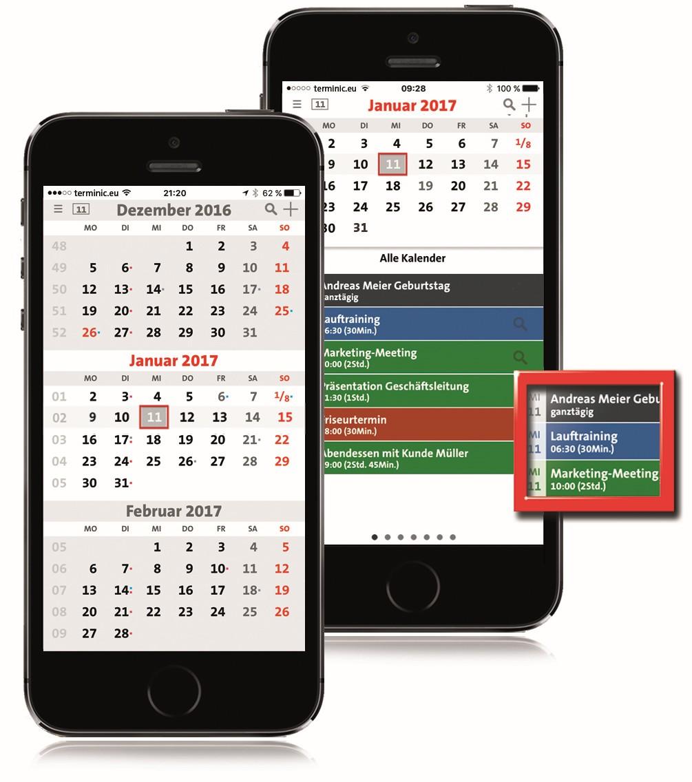 App terminic 3-Monatskalender Pro von terminic.