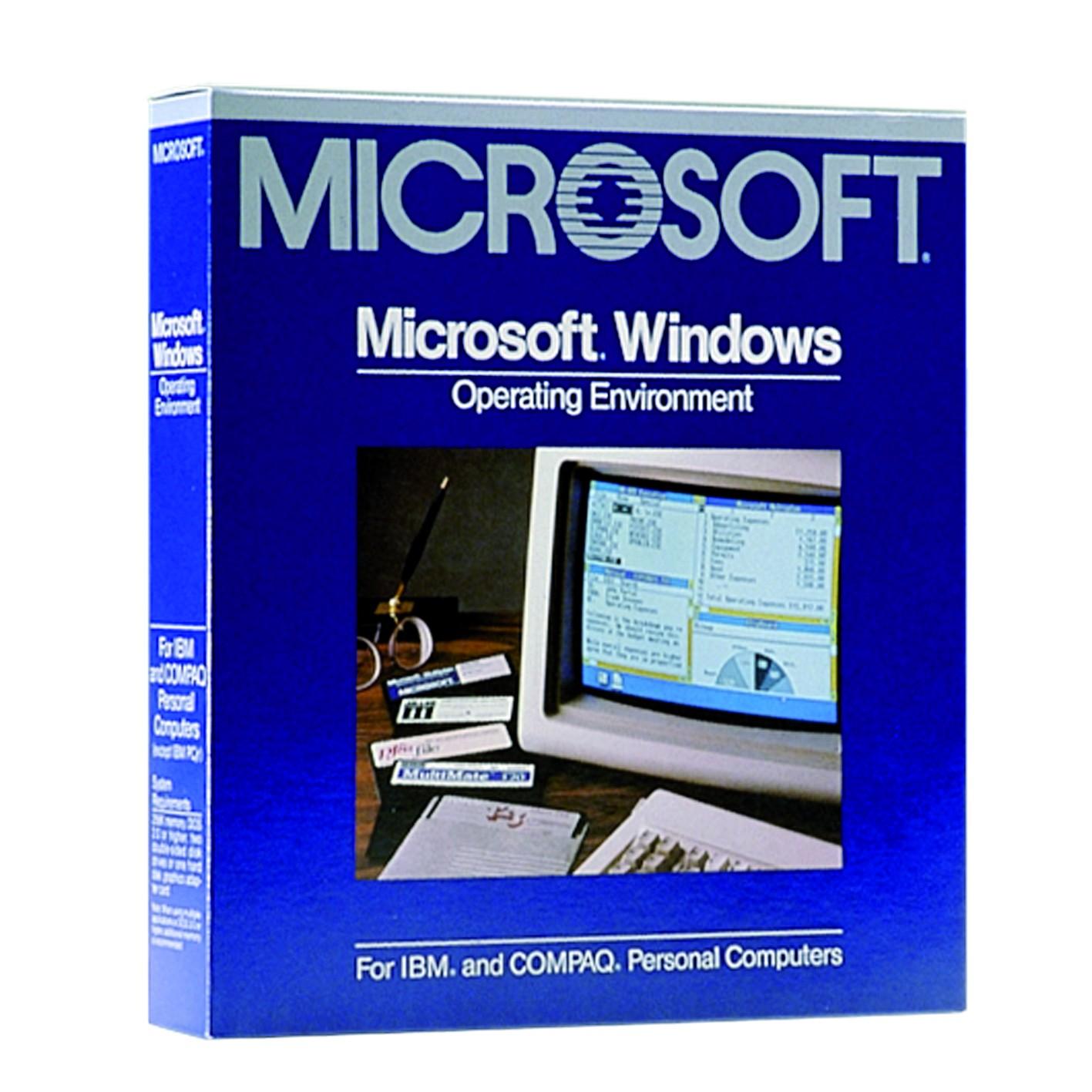 Windows 1: kein eigenes Betriebssystem, sondern eine Benutzeroberfläche für DOS. Die namensgebenden Fenster waren noch nicht überlappend platzierbar.