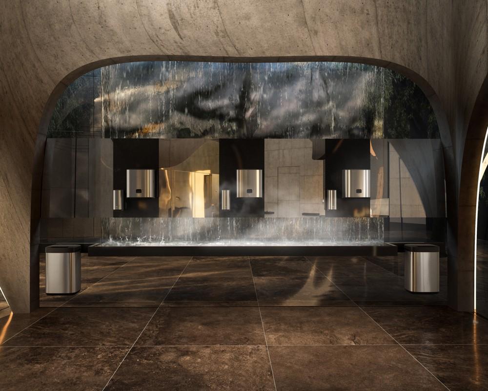 """Gemeinsam mit Tengbom Architects entwickelte Tork den """"Waschraum der belebenden Kontraste""""."""