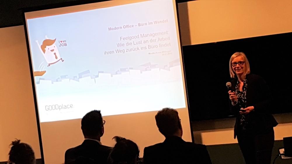 Monika Kraus-Wildegger, CEO von Goodplace.org, erläuterte, worin der Schlüssel zu gutem Feelgood-Management im digitalen Zeitalter liegt.
