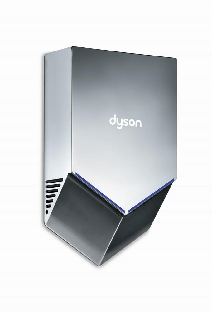 Mit seinem 10 cm schlanken Profil nimmt der Händetrockner Dyson Airblade V wenig Platz im Waschraum ein.