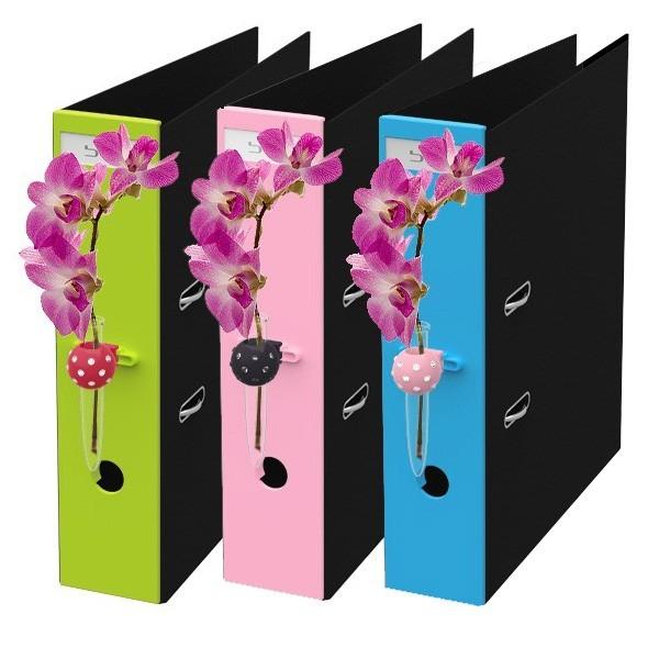 Flower App fürs Büro, Miniblumenvase für Aktenordner
