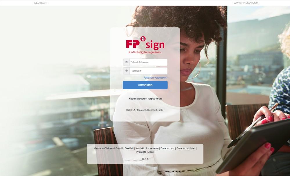FP-Sign von FP Mentana-Claimsoft. Foto: FP Mentana-Claimsoft