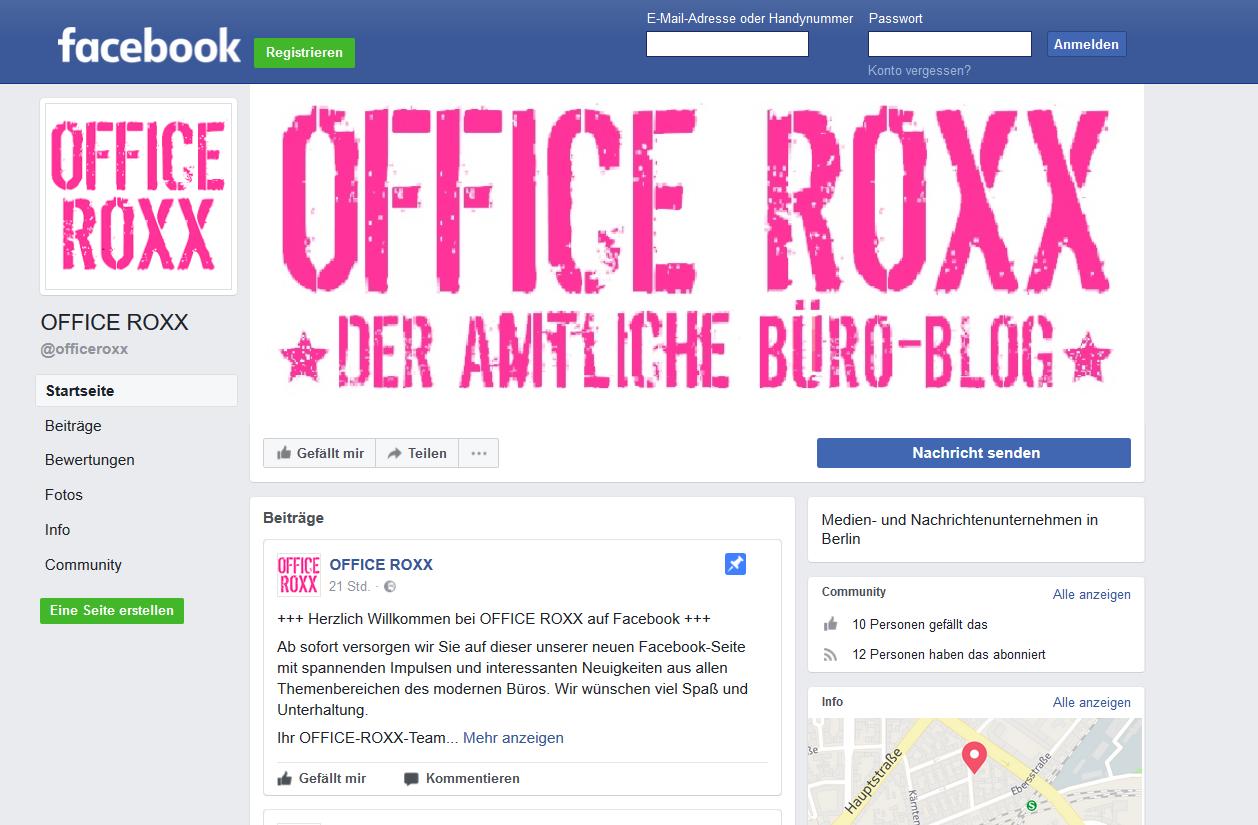 OFFICE ROXX auf Facebook und Twitter