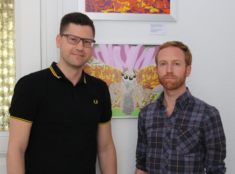 Unterwegs bei Tuesday Coworking. Betreiber John Neilan (rechts) und Robert Nehring.