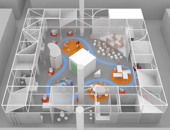 Skizze des Büros der Zukunft 2018 mit dem Schwerpunkt Gesundheit. Ein Parcours (blau) führt durch die einzelnen Stationen der Sonderschau. Foto: Messe Frankfurt Exhibition
