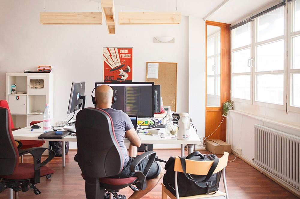 Kreativ und urban: einer der Arbeitsbereiche im co.up.