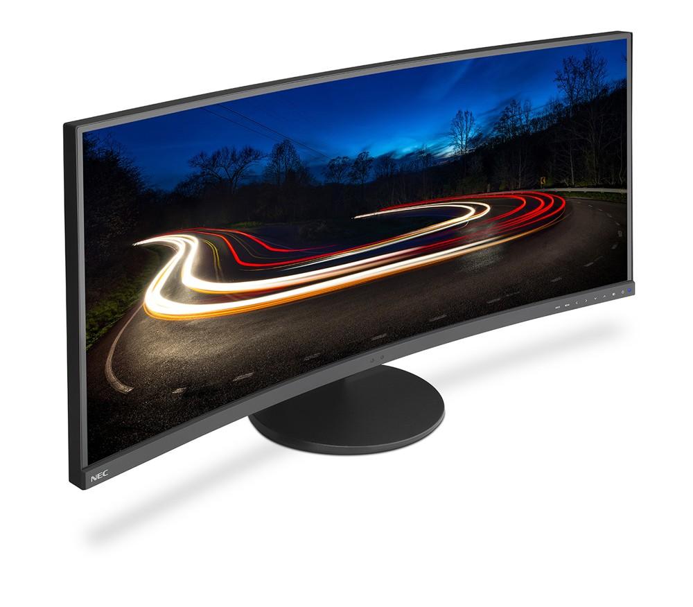Konkav geformte Displays (hier der EX341R von NEC) ermöglichen stets einen optimalen Betrachtungswinkel.