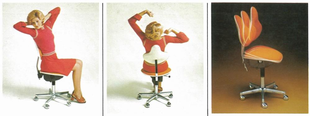Relax-o-flex®-Simultan von Drabert (1974) – die Erfindung der Synchronmechanik war ein wichtiger Meilenstein in der Entwicklung des Bewegtsitzens. Foto: Hersteller