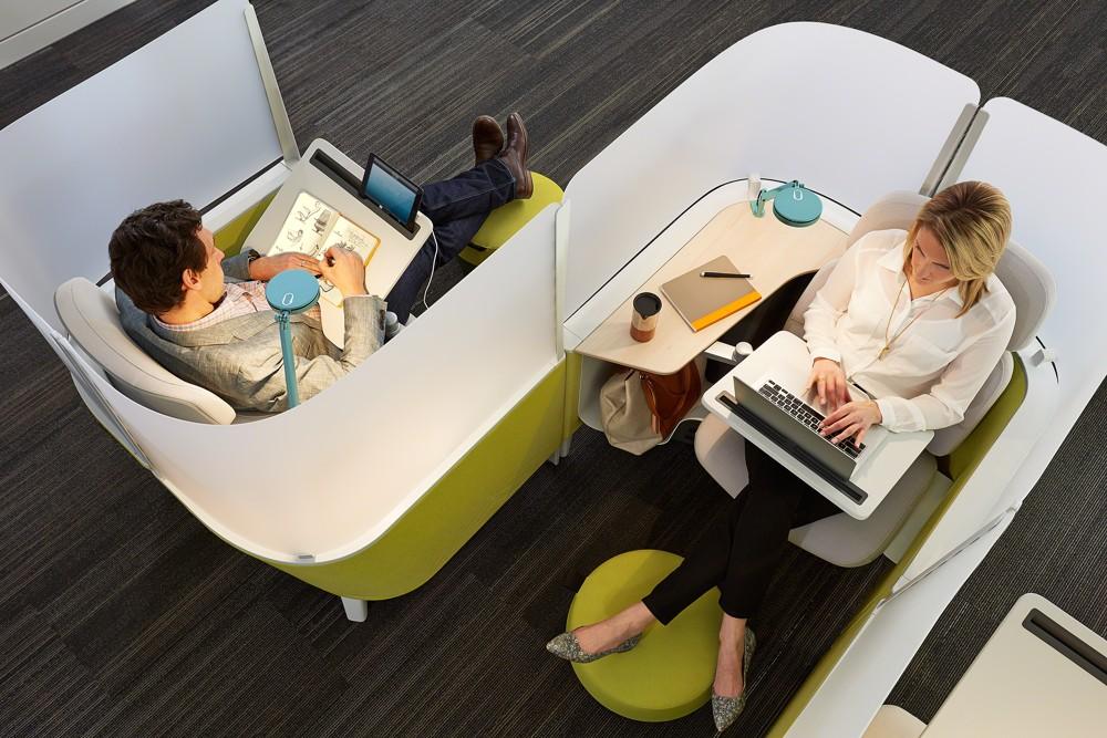 Open Spaces bieten heute Rückzugsmöglichkeiten für konzentriertes Arbeiten. Foto: Steelcase