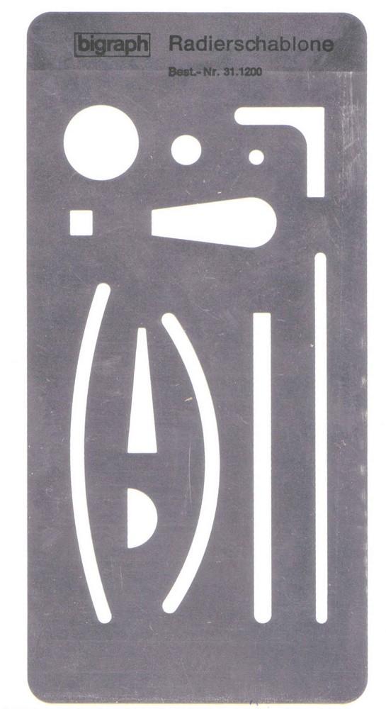 Radierschablone mit verschiedenen Aussparungen. Foto: Wikipedia