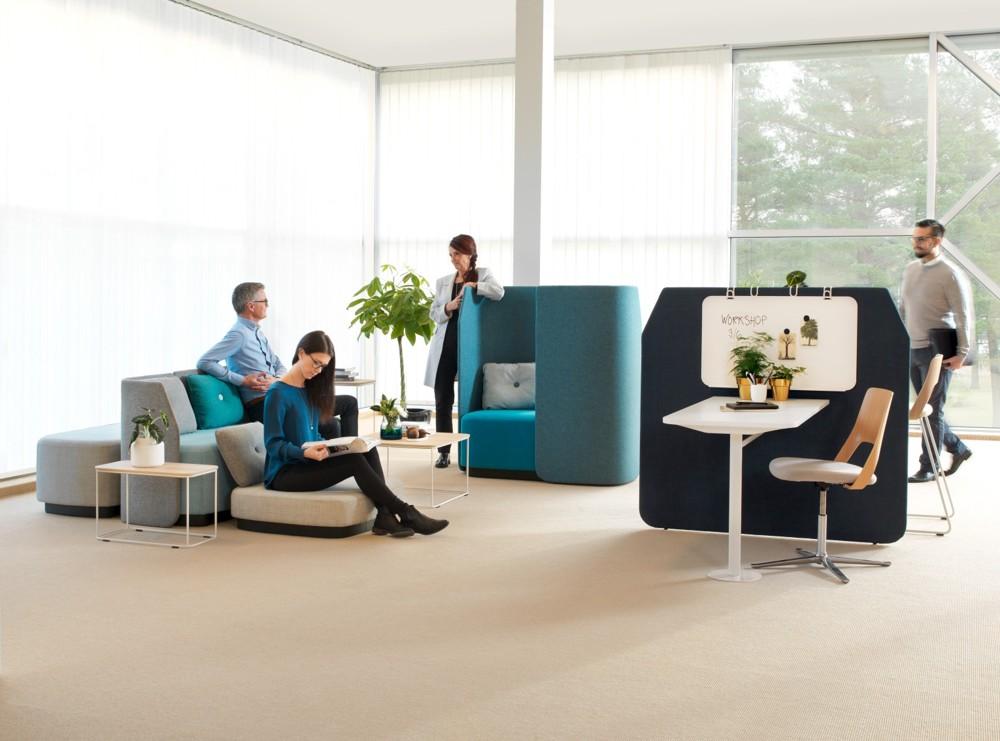 Möbelprogramm Fields für offene Bürolandschaften. Foto: Kinnarps