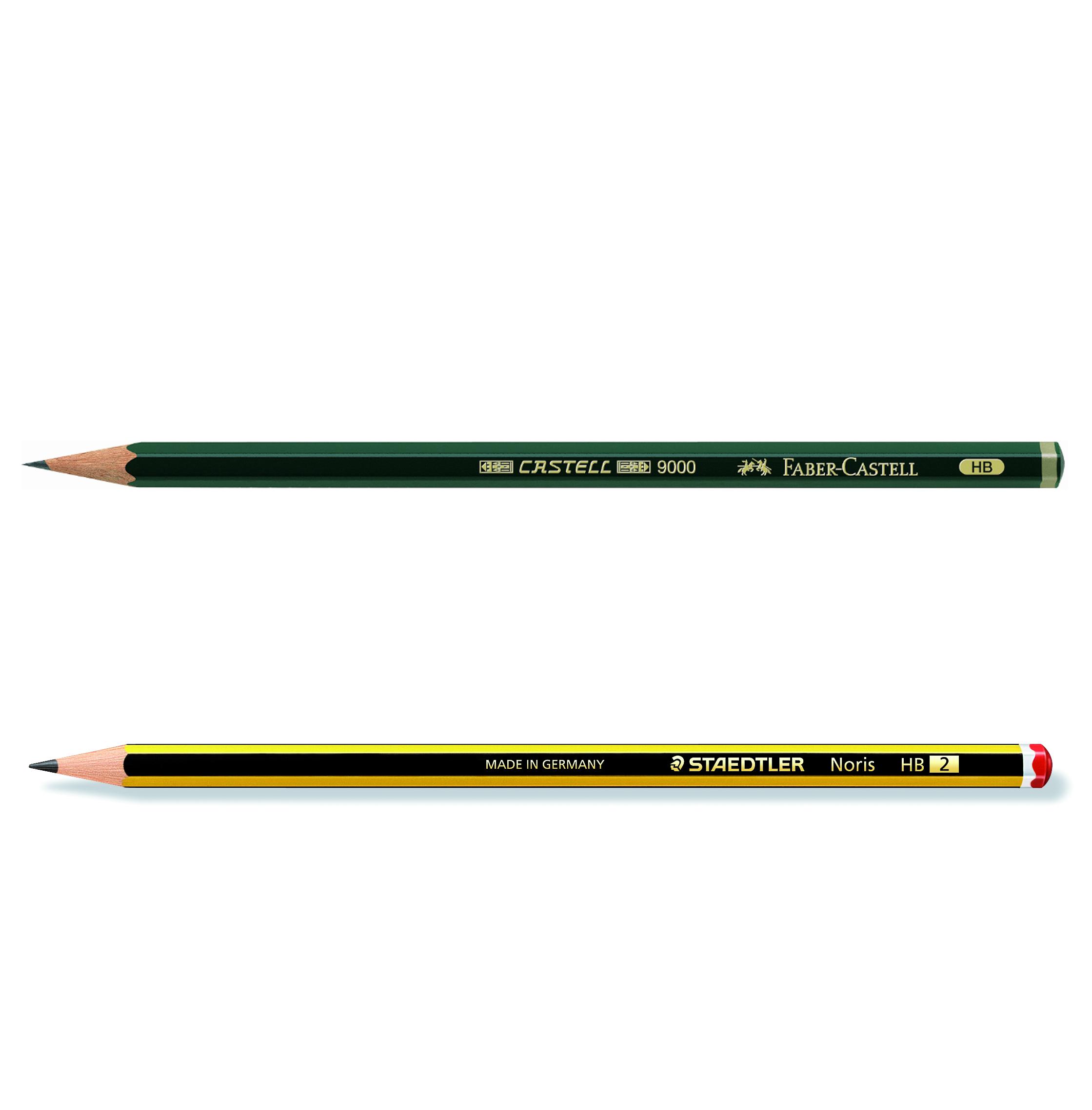 """Die beiden wohl bekanntesten Bleistifte hierzulande sind der """"Grüne"""" Castell 9000 von Faber-Castell und der Noris von Staedtler. Sie werden bereits seit 1905 bzw. 1901 verkauft. Abbildung: Faber-Castell und Staedtler"""
