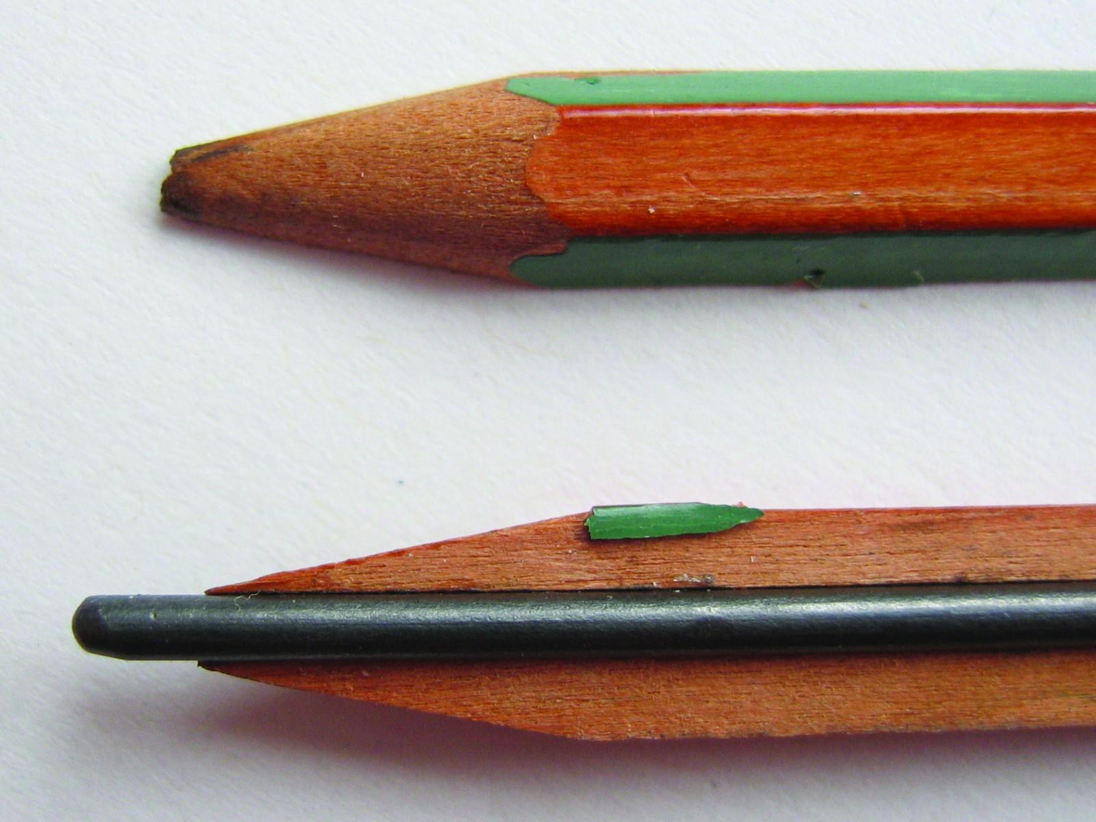 Je mehr Grafit, desto weicher ist die Bleistiftmine und desto dunkler die Linie. Abbildung: Wikimedia commons/Captain Crunch