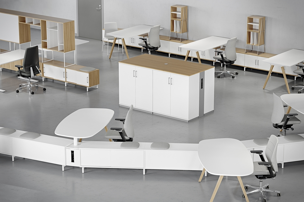 Space bietet Flexibilität bei der Einrichtung des tätigkeitsbasierten Büros. Abbildung: Kinnarps