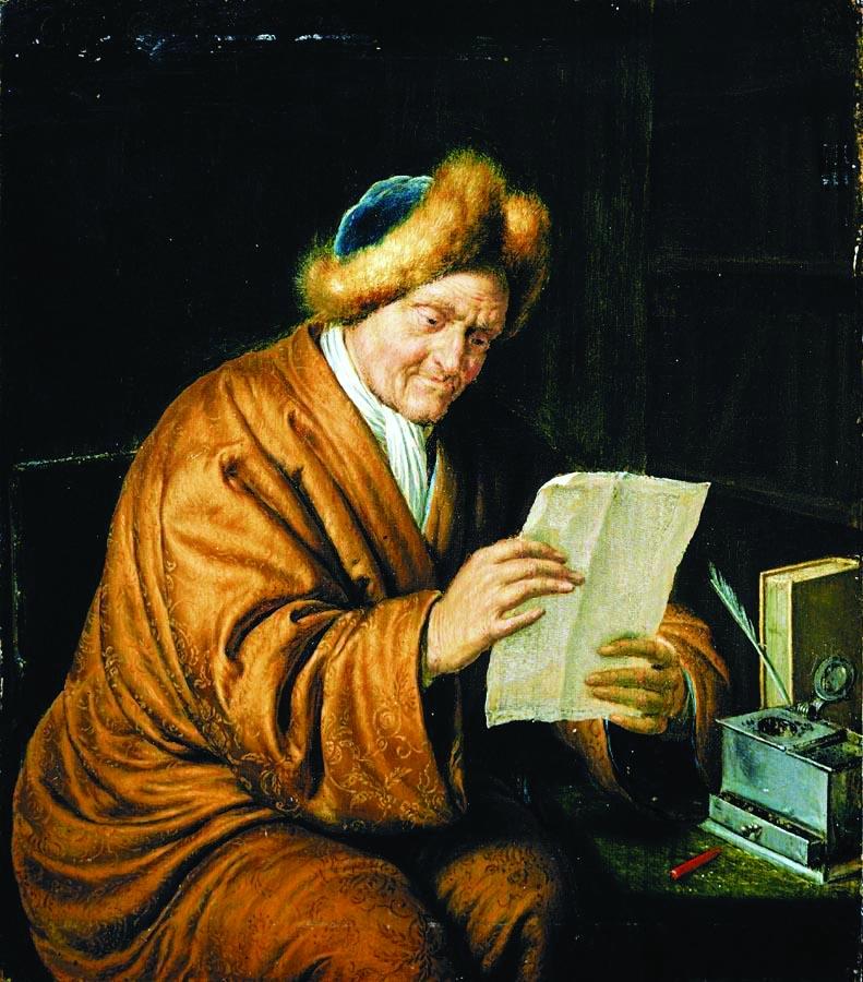 Im 18. Jahrhundert weitete sich der Briefverkehr auf große Kreise der Oberschicht aus. (Willem van Mieris: Lesender Greis, 1729.) Abbildung: Wikimedia Commons/Andreagrossmann