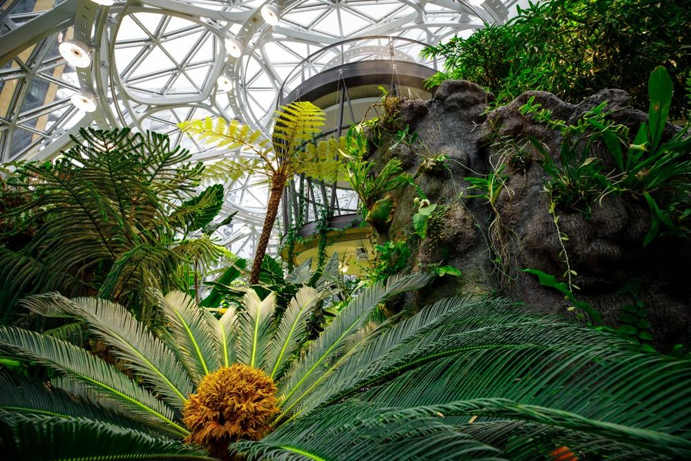 Die größte der drei Spheres ist über 27 m hoch und hat einen Durchmesser von knapp 40 m.
