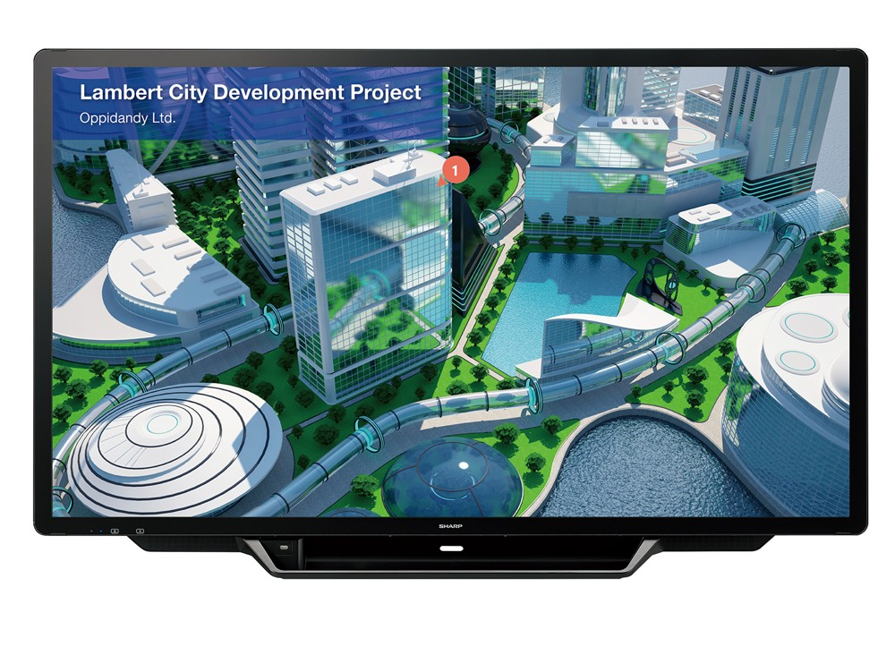 Touchscreen: Arbeitet – wie Smartphones – mit PCAP: Sharps Big Pad PN-70TH5.