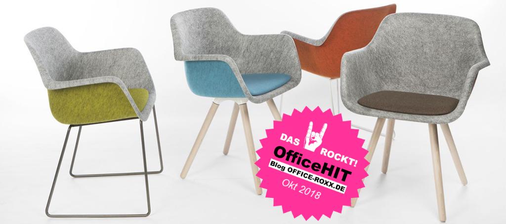 Halle 7: Stuhl Felt von Vepa – zur Fertigung wurde Plastikmüll verwendet. Deshalb: OfficeHIT. Abbildung: Vepa