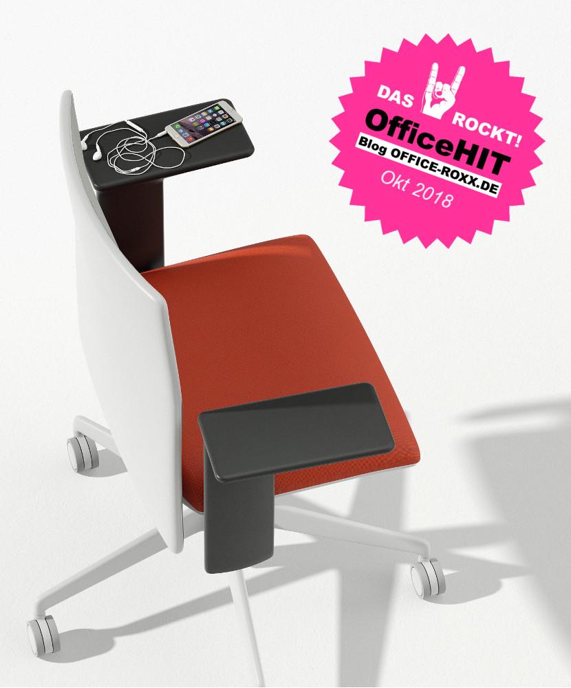 Halle 10.2: Bürostuhl Planesit von Arper - alles dran, was an Bürostuhl benötigt, schickes Design und innovative Armlehnen, die als schmale Schreibfläche und Ablage dienen. Das gibt den OfficeHIT. Abbildung: Arper