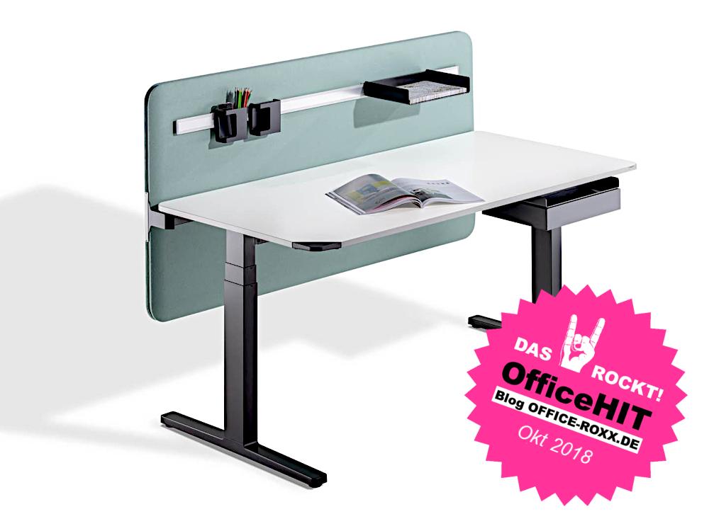 Halle 9: WINEA FLOW – der mit sieben Sekunden wohl schnellste Sitz-Steh-Tisch der Welt und deshalb unser OfficeHIT. Abbildung: WINI Büromöbel