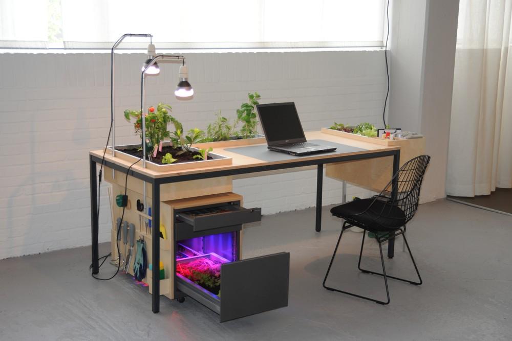 Schreibtisch mit Gewächshaus