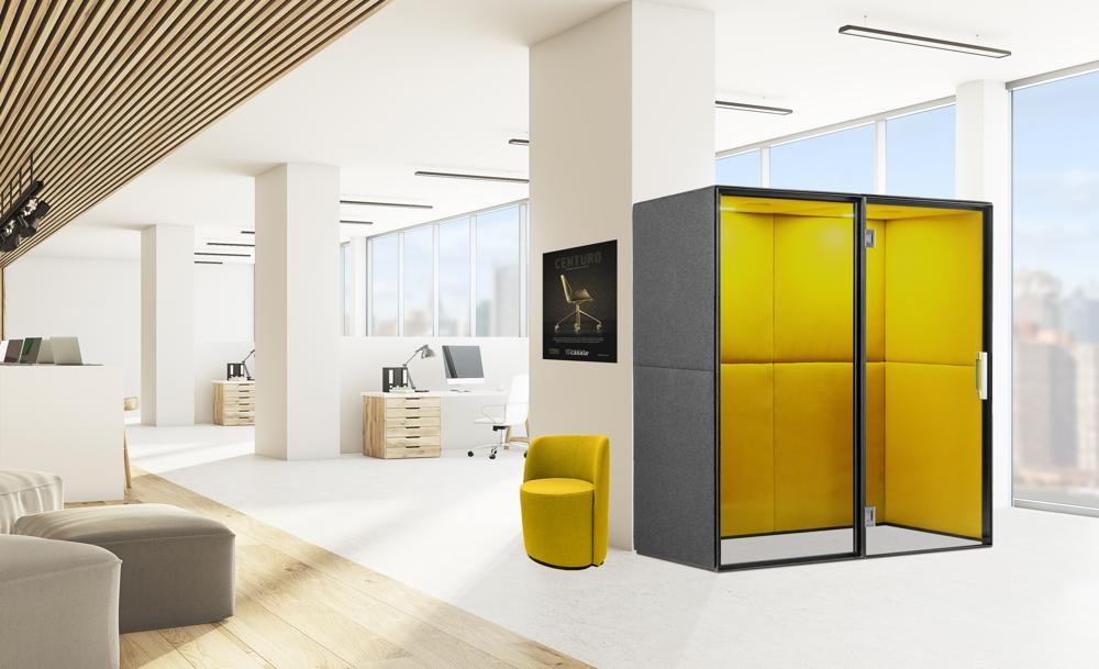 Halle 10.2: Raum-in-Raum-Lösung Palau Boston Phonebooth von Casala. Abbildung: Casala