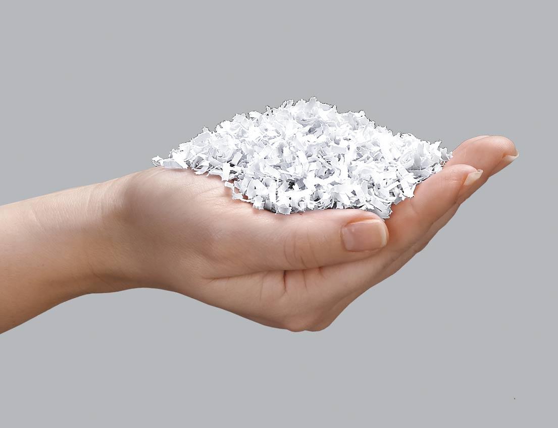 Microshred-Aktenvernichter zerkleinern ein A4-Blatt in mehr als 2.000 winzige Stücke. Abbildung: Fellowes