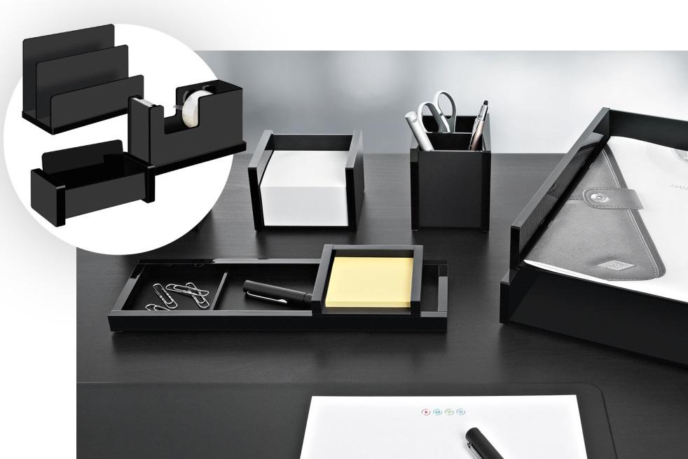 Die Serie Black Office von Wedo umfasst viele nützliche Accessoires für den Schreibtisch. Das Design ist klassisch und stylisch. Abbildung: Wedo