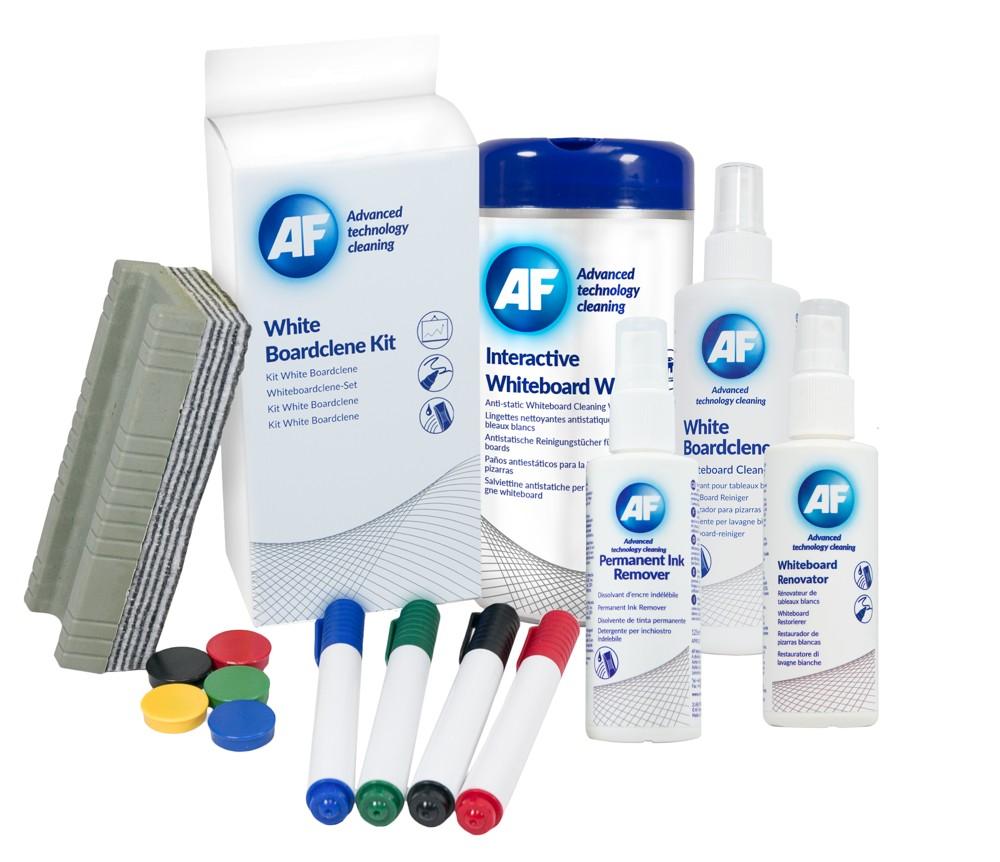 Verschiedene Whiteboard-Cleaner sorgen für saubere Präsentationsflächen. Abbildung: AF International