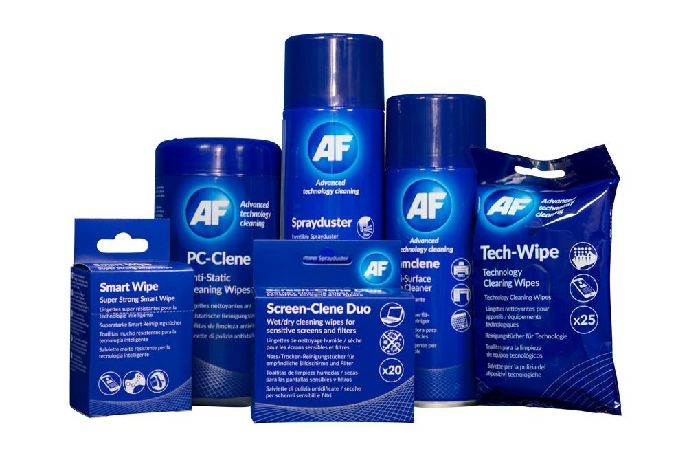 Speziell für die Reinigung von Displays, Smartphones, Tablets, Druckern und anderen technischen Geräten. Abbildung: AF International
