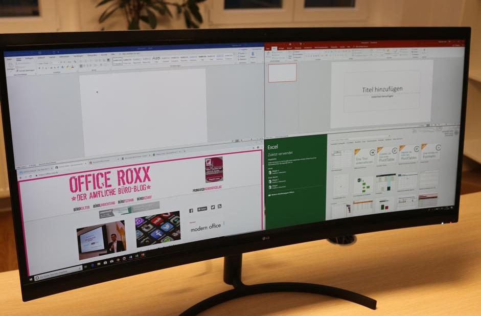 Per Klick lässt sich der Monitor in virtuelle Bildschirme aufteilen.