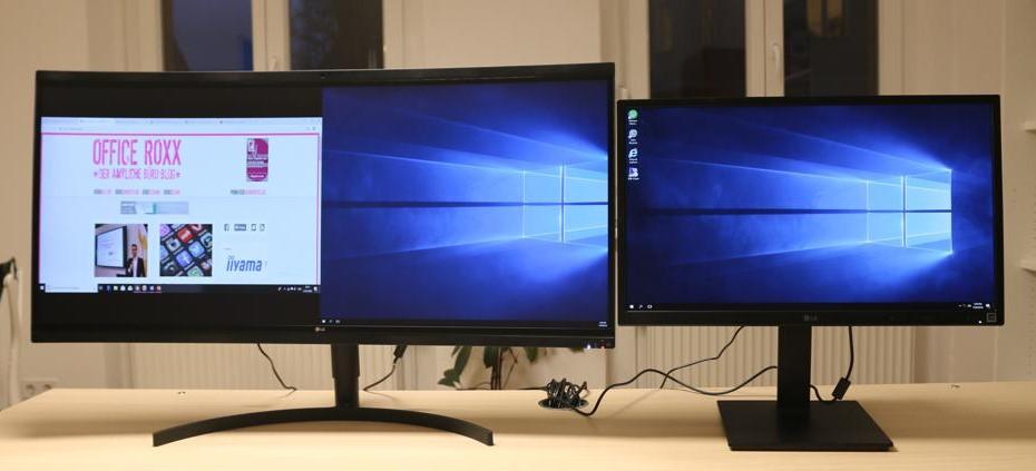 Beide Testgeräte von LG vereint. Der große 38CK900N dient hier als externer Bildschirm seines kleinen Bruders 24CK550W