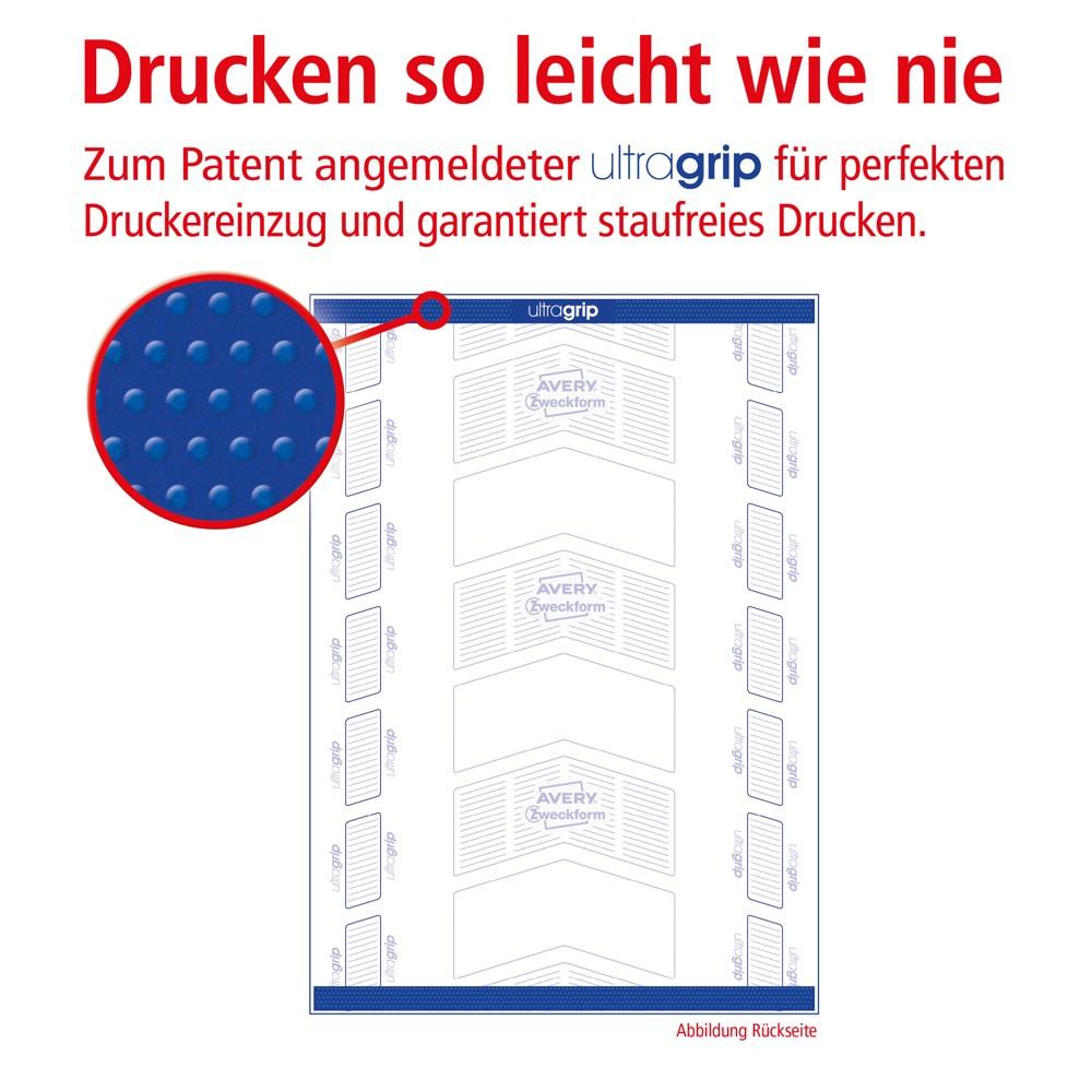 Durch das dreidimensionale Profil auf der Rückseite der Etiketten kann die Druckerwalze optimal zugreifen. Abbildung: Avery Zweckform