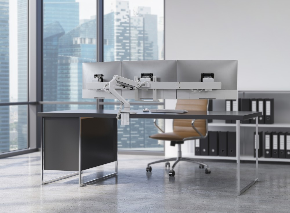 HX Triple Monitor Arm, Tischhalterung. Abbildung: Ergotron
