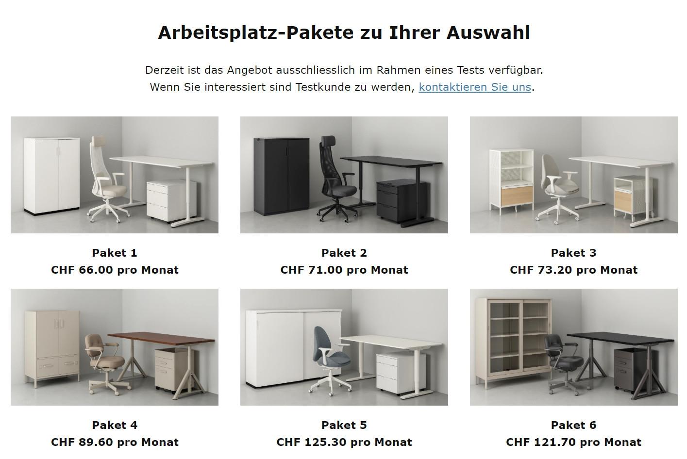 Die sechs mietbaren Arbeitsplatzpakete von Ikea Schweiz.