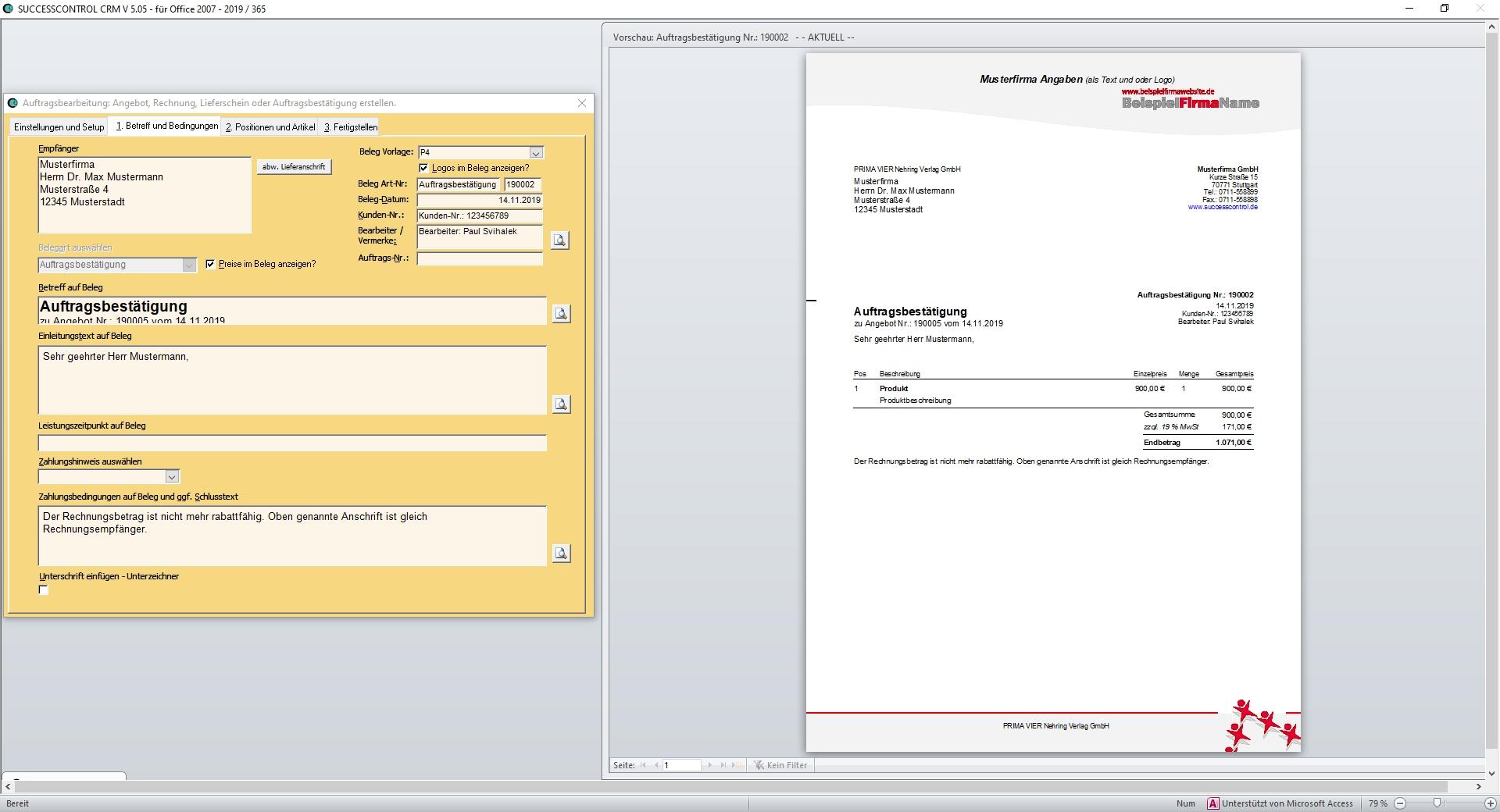 Neben dem Formular zur Belegerstellung wird eine sich stets aktualisierende Druckvorschau angezeigt.