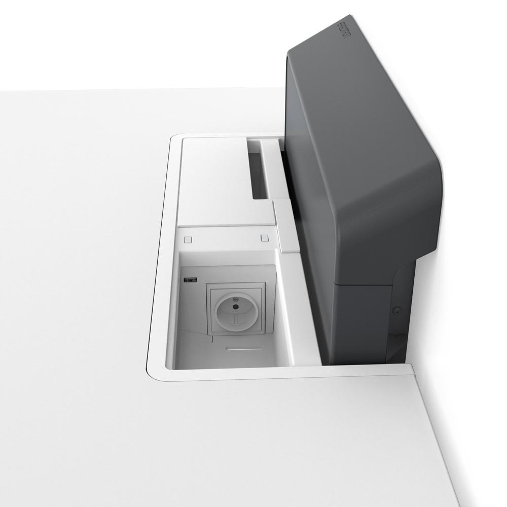 Verbunden bleiben mit integriertem Stromzugang. Das integrierte Leistungsmodul für die EU/UK-Regionen kommt mit zwei AC-Steckdosen und zwei USB-Anschlüssen. Kann nachgerüstet werden. Abbildung: Ergotron