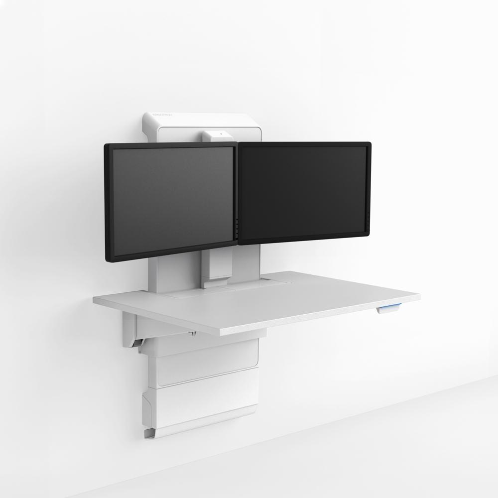 Das Wohlbefinden verbessern mit ergonomischer Positionierung der Monitore. Abbildung: Ergotron