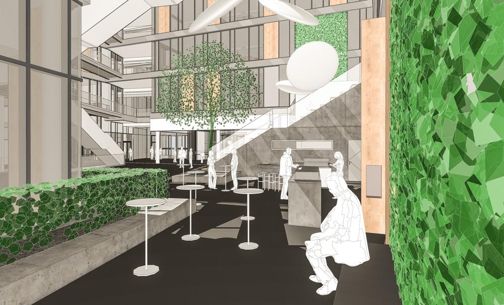 Das neue Atrium von Sartorius in Göttingen im Entwurf. Abbildung: Mobilane GmbH