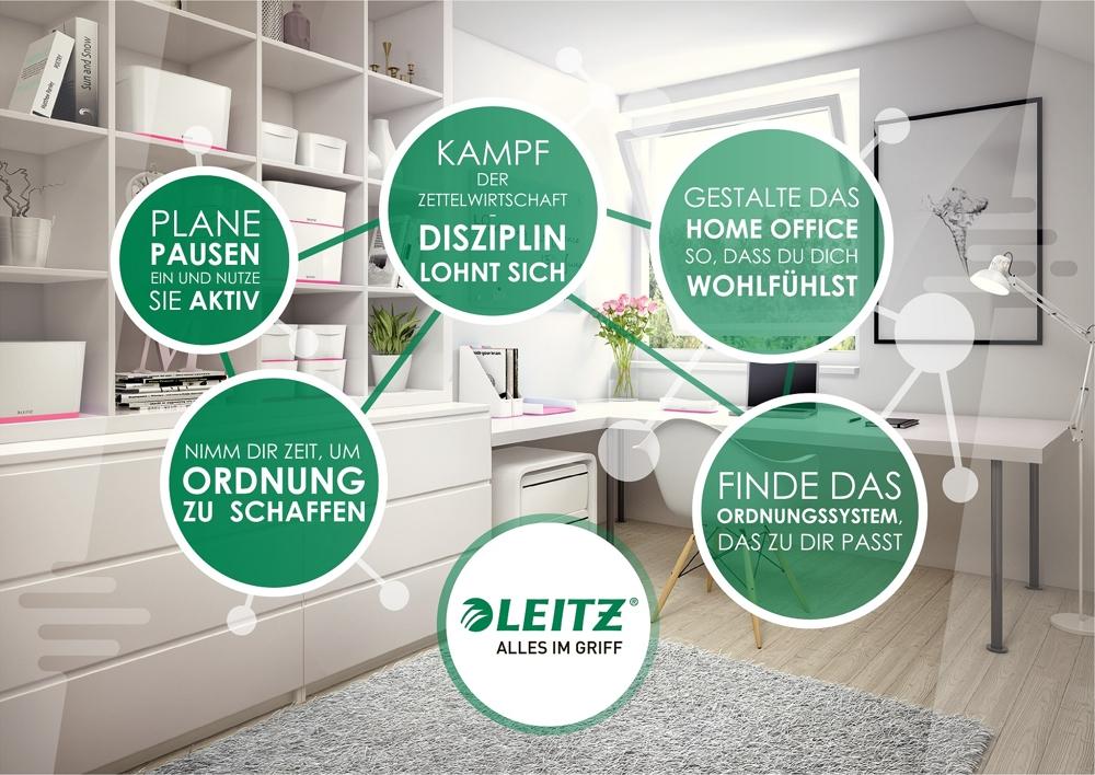 Fünf Tipps für produktiveres und organisiertes Arbeiten in Home-Office und Büro. Abbildung: Leitz