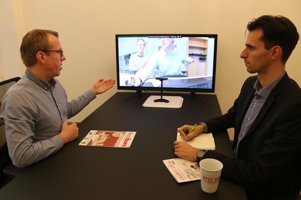 Die Redaktion in Aktion – während einer Videokonferenz zum aktuellen Testgerät von Jabra.