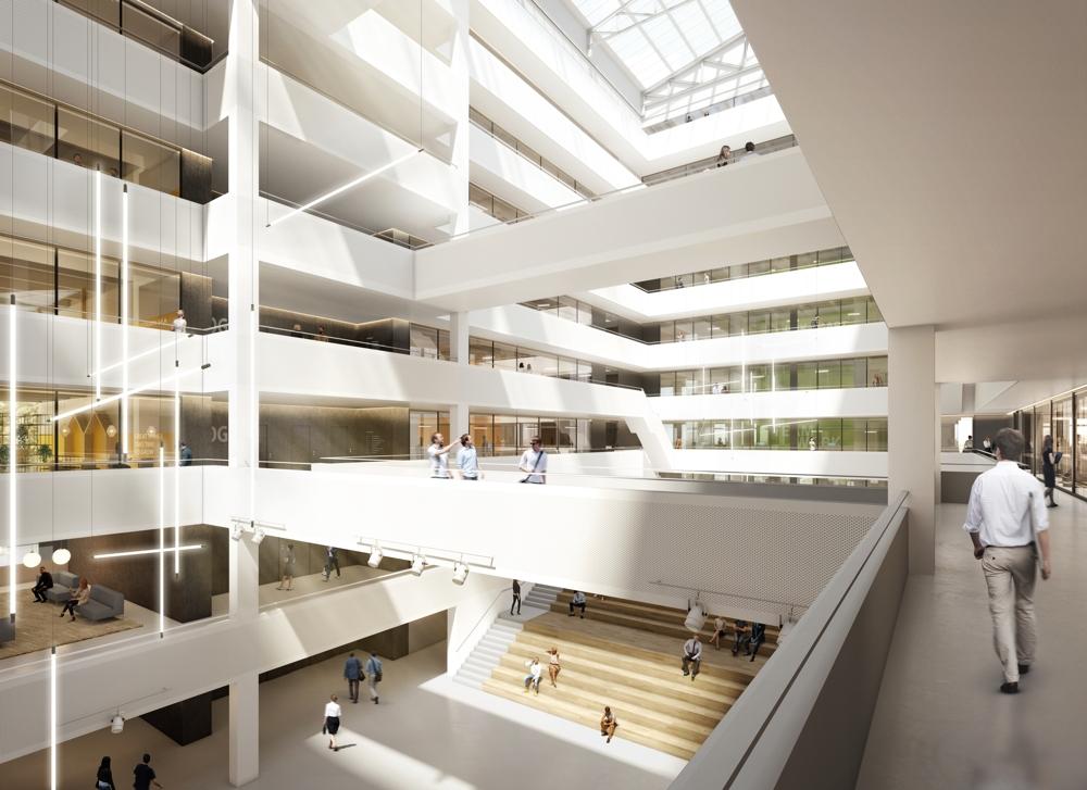 Es werde Licht: Das entstehende Atrium in Gebäude 4 auf dem Otto-Campus. Abbildung: Otto